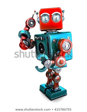 cute 3d retro robot with phone tube 3d illustration isolated contains clipping path stock photo © kirill_m