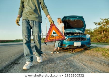 пару автомобилей за остановки дорожный знак белый Сток-фото © DedMorozz