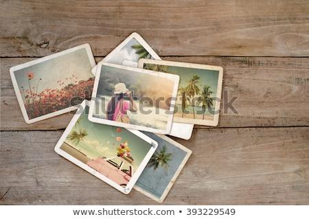 Nyár nyaralások lány rusztikus bőrönd szalmakalap Stock fotó © marimorena
