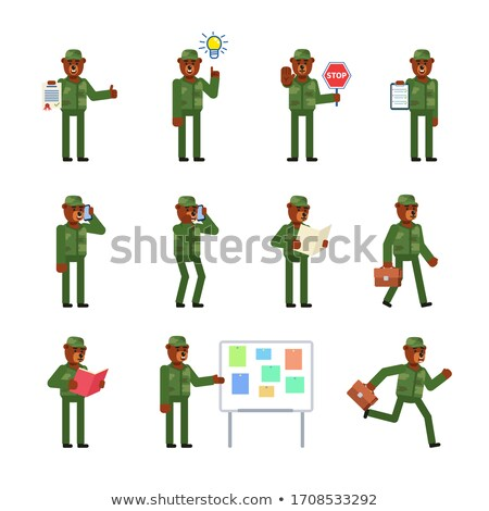 Soldier in brown uniform running Stock photo © bluering