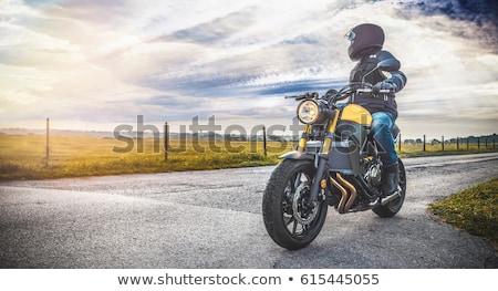 Motocicleta elegante homem barba preto Foto stock © bezikus