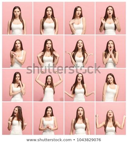 Kadınlar farklı ifadeler yüz ifadeleri beyaz gülümseme Stok fotoğraf © bluering