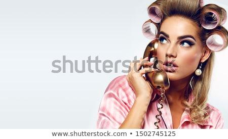 Schoonheid make-up glamour kapsel parels grijs Stockfoto © DenisMArt