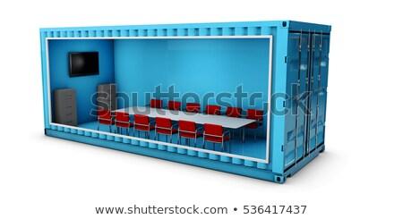Illusztráció konténer iroda épület 3d illusztráció házak Stock fotó © tussik