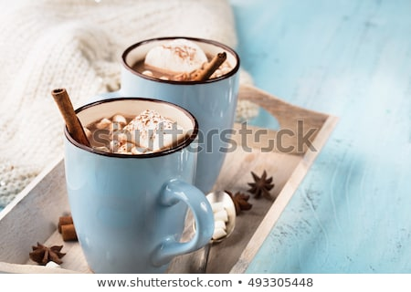 hot chocolate dessert with marshmallows on wooden background stock photo © yelenayemchuk