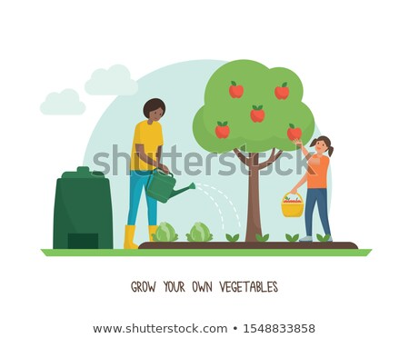 family going apple picking together stock photo © is2