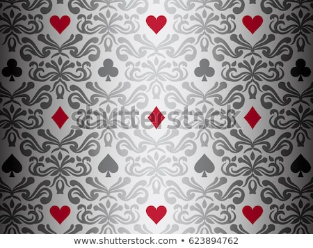 Photo stock: Silver Background With Poker Symbols Surrounded By Floral Ornament Pattern