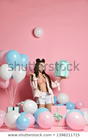 Full length portrait of a smiling cheerful girl in underwear Stock photo © deandrobot