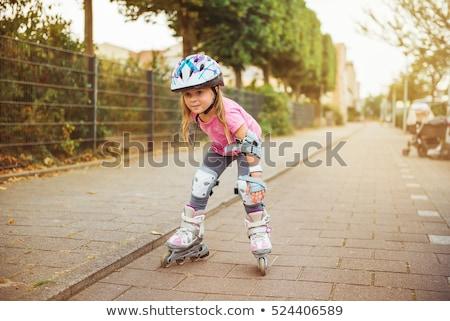 коньки · передний · план · девушки · катание · улице · спорт - Сток-фото © monkey_business