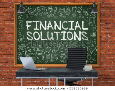 financial solutions   hand drawn on green chalkboard 3d stock photo © tashatuvango