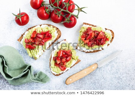 rye bread with cheese and tomatoes Stock photo © Hofmeester