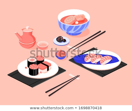 poster design with different sushi rolls stock photo © bluering