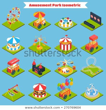 lunapark · izometrik · 3D · aile · aktif - stok fotoğraf © studioworkstock