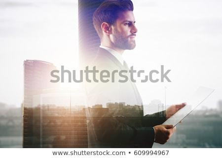 Europeo empresario pie documento negocios traje Foto stock © studioworkstock