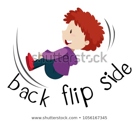 Wordcard fro back flip side with boy flipping Stock photo © bluering