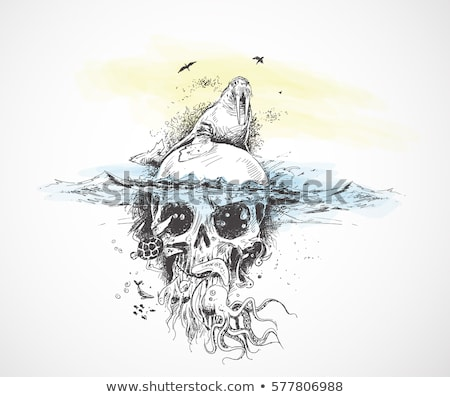 an abstract pirate scull painting Stock photo © magann