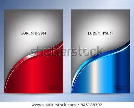 Folheto modelo cinza ondulado vermelho decorativo Foto stock © derocz