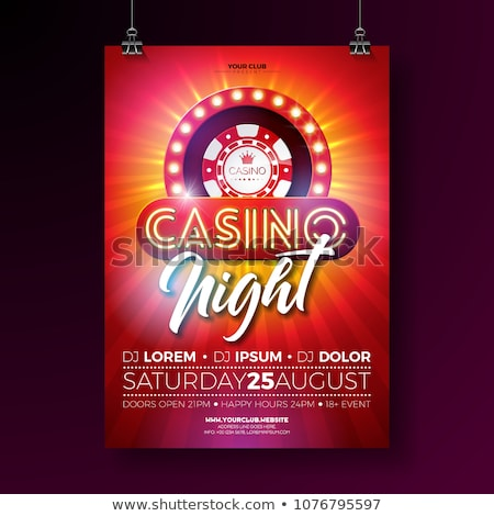 Vector Casino night flyer illustration with gambling design elements and shiny neon light lettering  Stock photo © articular