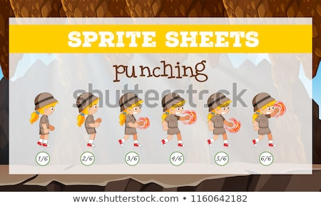 Sprite sheets girl punching Stock photo © bluering