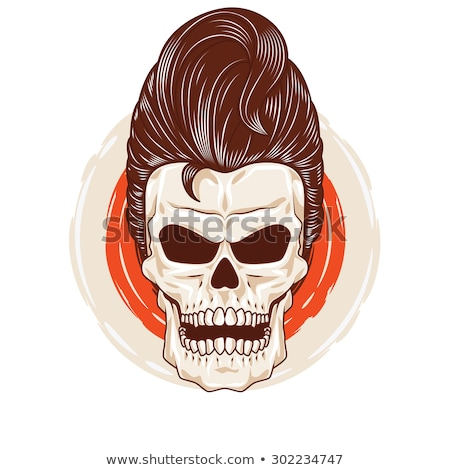 Crâne coiffure squelette tête cheveux rockabilly Photo stock © popaukropa