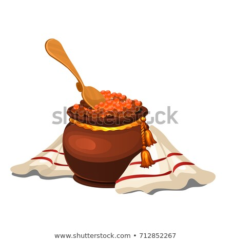 Clay pot with red caviar isolated on white background. Vector cartoon close-up illustration. Stock photo © Lady-Luck