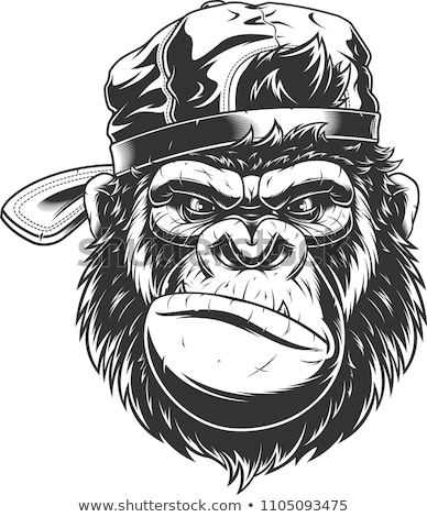 Cartoon zły piłkarz małpa patrząc Zdjęcia stock © cthoman
