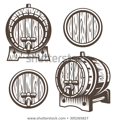oktoberfest illustration with typography on beer barrel hop and falling autumn leaves on light dood stock photo © articular