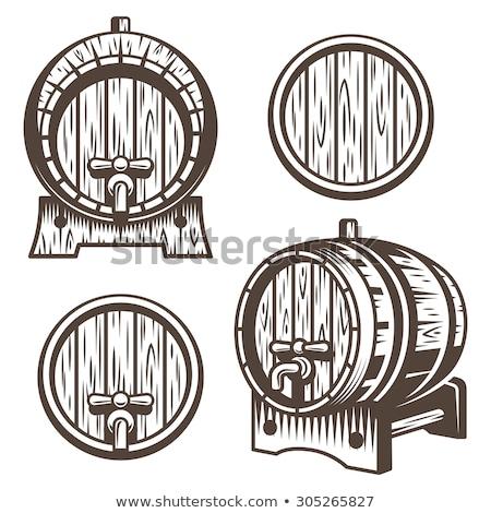 Stock fotó: Oktoberfest Illustration With Typography On Beer Barrel Hop And Falling Autumn Leaves On Light Dood