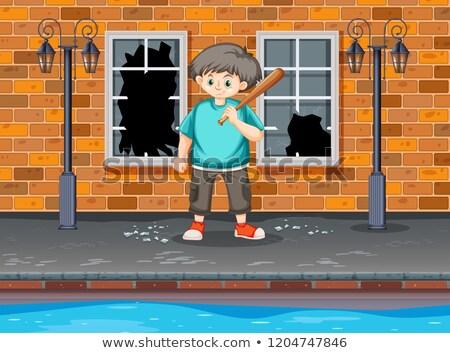 Moeite jonge jongens venster illustratie kinderen Stockfoto © bluering