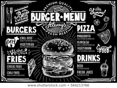 Vector hamburger illustratie label menu cheeseburger Stockfoto © tele52