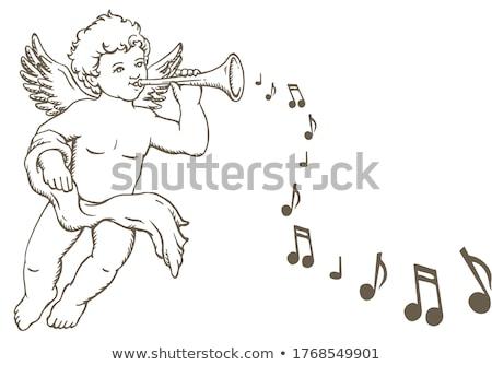 Karácsony angyal trombita kék ragyogó kézzel rajzolt Stock fotó © Artspace