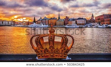 híd · arany · korona · Stockholm · Svédország · város - stock fotó © neirfy
