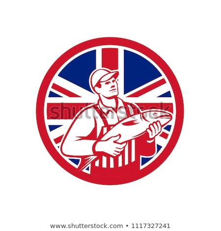 İngilizler İngiliz bayrağı bayrak maskot ikon retro tarzı Stok fotoğraf © patrimonio
