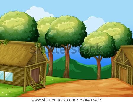 Dos forestales ilustración edificio paisaje Foto stock © colematt