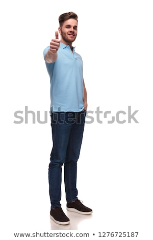 relaxed casual man in polo shirt makes ok sign Stock photo © feedough
