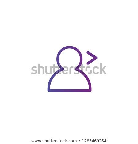 Lila lineáris skicc személy ikon nyíl Stock fotó © kyryloff