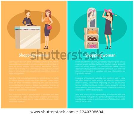 Woman Client Shopping, Try Headgear on Head Vector Stock photo © robuart