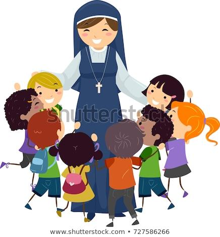rahibe · örnek · kadın · siyah · kişi · karikatür - stok fotoğraf © lenm