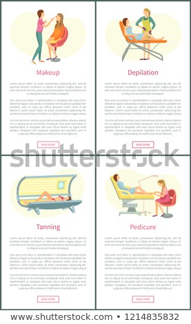 Pedikűr szolgáltatás plakátok szett vektor szöveg Stock fotó © robuart