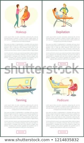 Pedicure serviço pôsteres conjunto vetor texto Foto stock © robuart