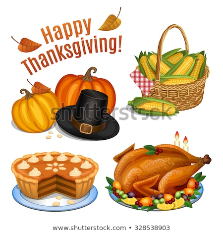 Pumpkin and Turkey Baked Pie Icons Set Vector Stock photo © robuart