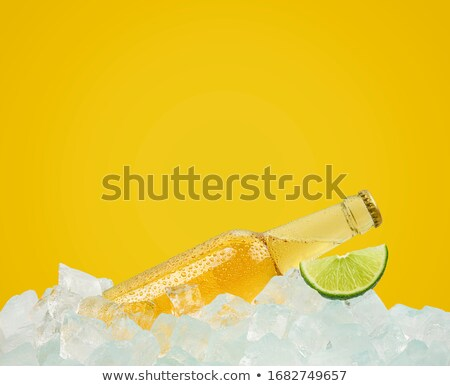closeup view of beer bottles and lime slices stock photo © dashapetrenko