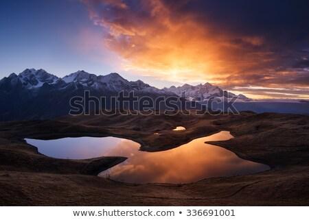 Morgen Landschaft Berg See Georgia Haupt Stock foto © Kotenko
