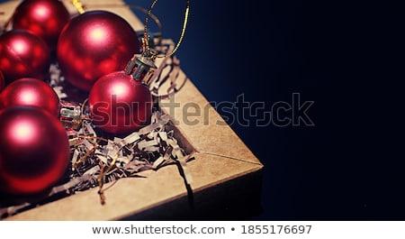 karácsonyfa · golyók · keret · kép · piros · dekoráció - stock fotó © furmanphoto