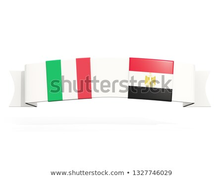 banner with two square flags of italy and egypt stock photo © mikhailmishchenko