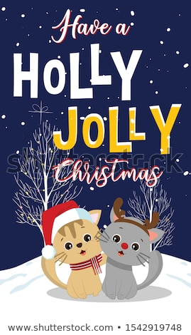 Merry Christmas Postcard Holly Jolly with Kitten Stock photo © robuart