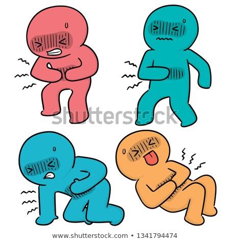 doente · estômago · mascote · ilustração · saúde · saúde - foto stock © olllikeballoon