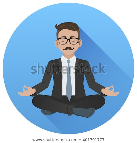 Office man meditating in the middle of busy work. Flat vector illustration Stock photo © makyzz
