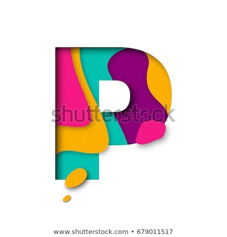 multi color layers font letter p 3d stock photo © djmilic