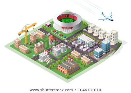 Miasta wysoki wieżowce przystanek autobusowy odizolowany reklama Zdjęcia stock © robuart